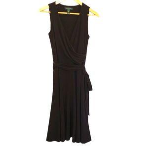 Lauren Ralph Lauren Black Faux Wrap Dress Sz 4